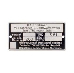 Typenschild -  Simson Mokick S51 - IFA Kombinat VEB Fajas - bis 1990