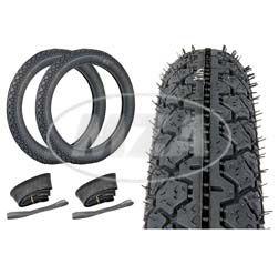 Komplettset HEIDENAU = 2 Stück Reifen - 2 3/4-16 K36/1 46J - inkl. 2x Schläuche und 2x Felgenbänder