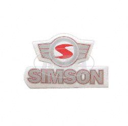 Klebefolie Simson - Schriftzug mit Emblem  (rot-silber)