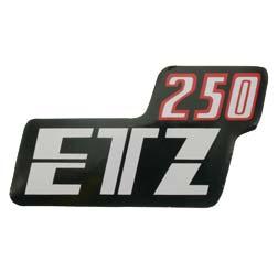 Klebefolie Seitendeckel, rot/schwarz/weiß ETZ250