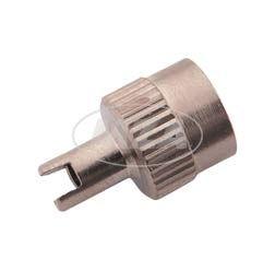 Ventilkappe mit Werkzeug und Dichtring -  Metall  - Schlüsselventilkappe - Geriffelter Rand