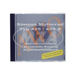 CD, SIMSON Motorrad passend für AWO 425/425S ORIGINALDOKUMENTE (Reparaturhandbuch, Ersatzteilkataloge, Betriebsanleitungen + Präsentation im Museum)