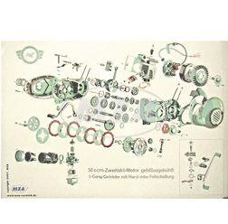 Explosionsdarstellung, Farbposter über 50ccm-Zweitakt-Motor, gebläsegekühlt; 3-Gang-Getriebe mit Hand- oder Fußschaltung