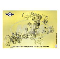 Explosionsdarstellung, Farbposter für Motor 425 - Einzylinder Viertakt 250ccm mit 12 PS - passend für AWO